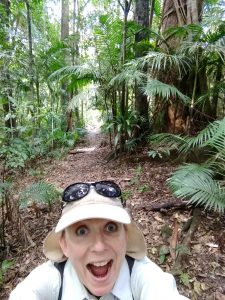 Kathryn looks amazed and wide-eyed at the rainforest in Main Range National Park
