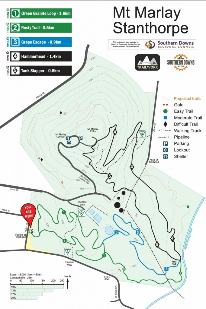 walking in the southern downs - Mt Marlay map